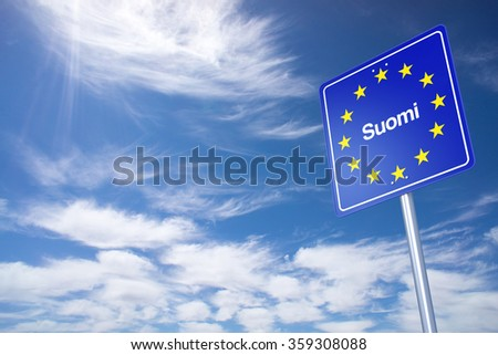 Finland Border Sign with clouds sky. 3D Rendering - stock photo
