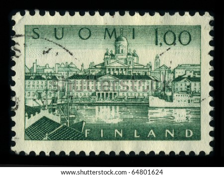 FINLAND - CIRCA 1980: A stamp dedicated to the Helsinki is the capital and largest city in Finland. It is in the southern part of Finland, on the shore of the Gulf of Finland, circa 1980.