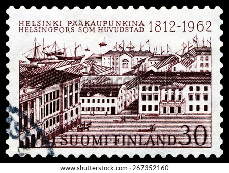 FINLAND - CIRCA 1962: a stamp printed by  Finland  shows  Helsinki, circa 1962 - stock photo