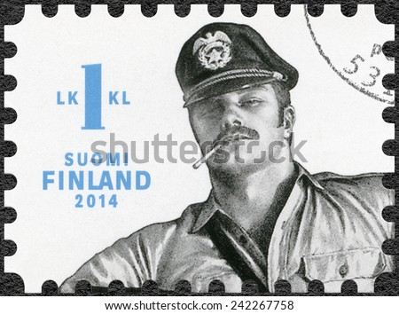FINLAND - CIRCA 2014: A stamp printed in Finland shows drawing by Tom of Finland, circa 2014  - stock photo