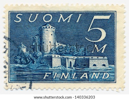 FINLAND - CIRCA 1944: A stamp printed in Finland shows Olavinlinna castle located in Savonlinna, Finland, circa 1944