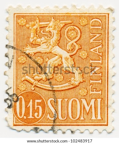 FINLAND - CIRCA 1963: A stamp printed in Finland shows the Lion with sword - National Emblem of Finland, circa 1963