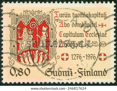 FINLAND - CIRCA 1976: a stamp printed in the Finland shows Turku Chapter Seal, Virgin and Child, 700th Anniversary of Cathedral Chapter of Turku, circa 1976 - stock photo