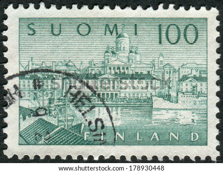 FINLAND - CIRCA 1963: Postage stamp printed in Finland, shows a southern port in Helsinki, circa 1963 - stock photo