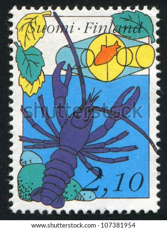 FINLAND - CIRCA 1991: stamp printed by Finland, shows Crayfish, trap, circa 1991