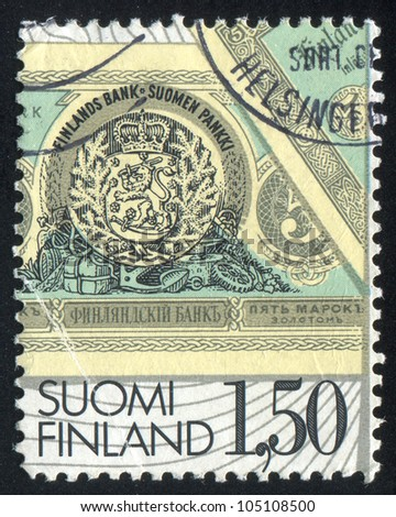 FINLAND - CIRCA 1985: stamp printed by Finland, shows Finnish Banknote, circa 1985