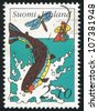 FINLAND - CIRCA 1991: stamp printed by Finland, shows Fly fisherman, trout, circa 1991 - stock photo