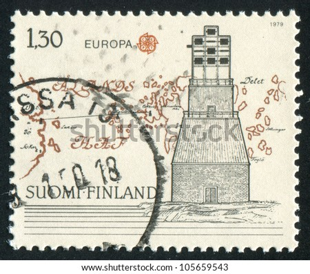 FINLAND - CIRCA 1979: stamp printed by Finland, shows Optical Telegraph, 1796, Map of Islands, circa 1979