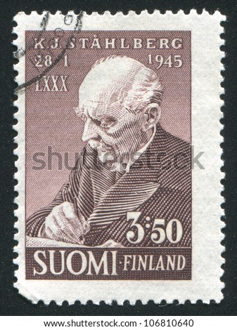 FINLAND - CIRCA 1945: stamp printed by Finland, shows President Kaarlo Juho Stahlberg, circa 1945