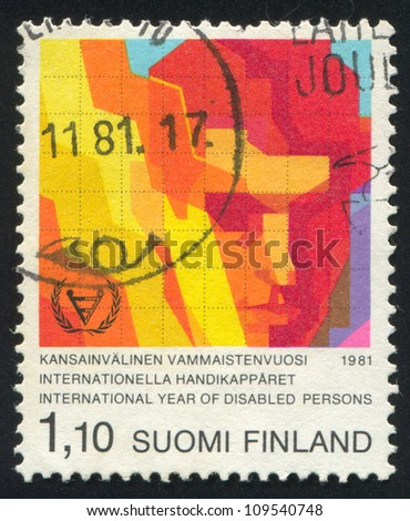 FINLAND - CIRCA 1981: stamp printed by Finland, shows Stylized Face of Disabled Person, circa 1981 - stock photo