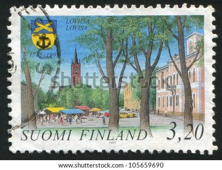 FINLAND - CIRCA 1995: stamp printed by Finland, shows Town of Loviisa, circa 1995 - stock photo