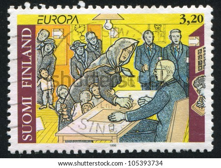 FINLAND - CIRCA 1996: stamp printed by Finland, shows Woman Suffrage, circa 1996