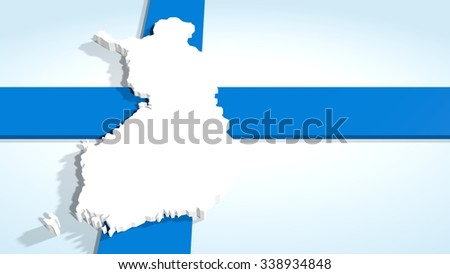 finland 3d map and national flag collage - stock photo