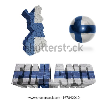 Finland flag and map in different styles in different textures - stock photo