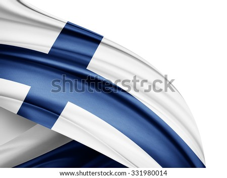 Finland   flag of silk with copyspace for your text or images and white background - stock photo