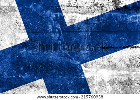 Finland Flag painted on grunge wall - stock photo
