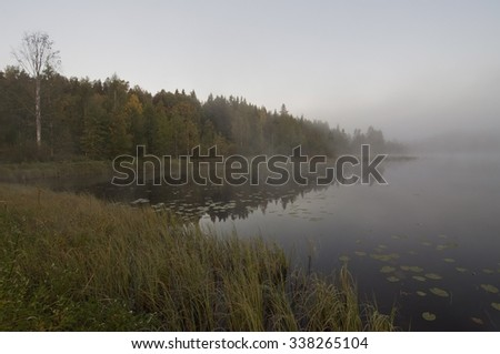 Finland. Fog on the water.