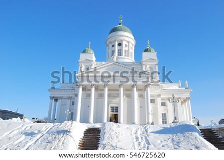 Finland. Helsinki Cathedral in a sunny winter day