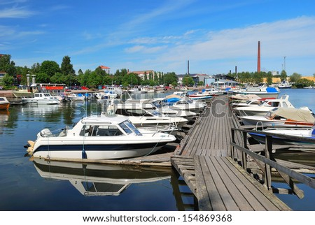 Finland. Kotka  harbor  in a sunny summer day
