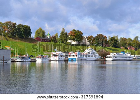 Finland. Lappeenranta harbor in a cloudy autumn day