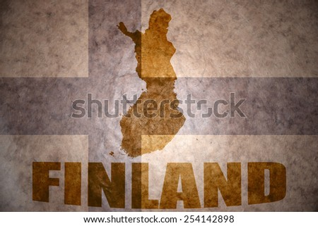 finland map on a vintage flag background - stock photo