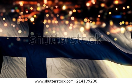 Finland National Flag Light Night Bokeh Abstract Background - stock photo