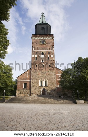 Finland's main Cathedral in Turku. Outdoor picture on a nice summer day.