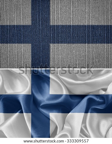 finland set of cloth flags