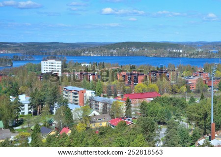 Finland. Top-view of the city of Jyvaskyla in a sunny spring day