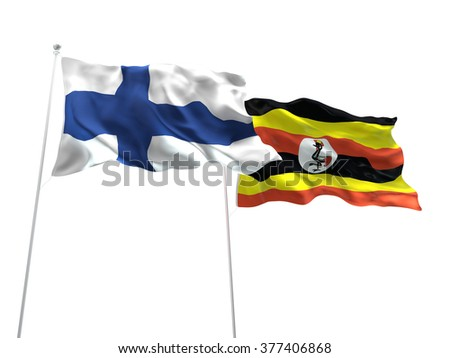 Finland & Uganda Flags are waving on the isolated white background - stock photo
