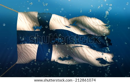 Finland Under Water Sea Flag National Torn Bubble 3D - stock photo