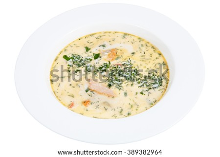 Finnish restaurant serving fish soup in a deep white plate, isolated on white background. - stock photo