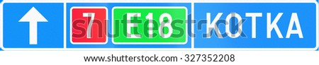 Finnish road sign no. 632. Advance direction sign (above the lane, type B) - stock photo