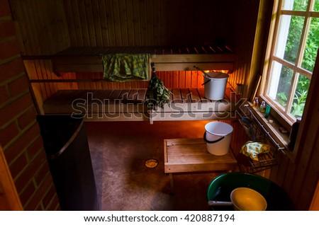 Finnish sauna. - stock photo