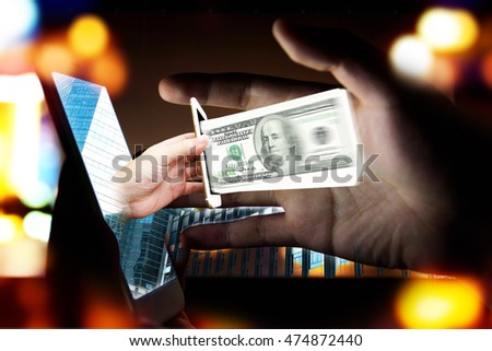 Fintech Investment Financial Technology Concept. P2P Payment concept image. Social network with P2P lending. Smart phone with hand coming out from screen to pay money with abstract bokeh background