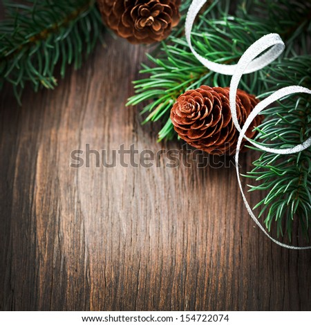 fir and fir cone christmas copy space  - stock photo