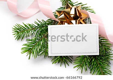 Fir and ribbon isolated on white - stock photo