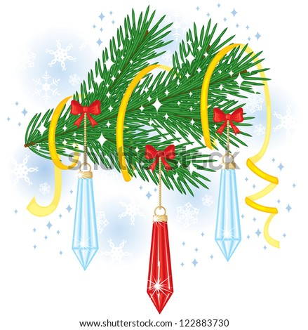 Fir branch decorated with toys, bows and streamer - stock photo