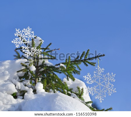 Fir branches in the snowdrift with Christmas snowflake against the blue sky - stock photo