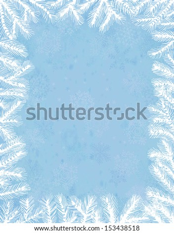 Fir frame on grunge snowflake background