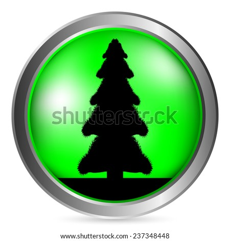 Fir tree button on white background. - stock photo