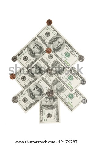 Fir tree made of dollars and cents isolated on white background