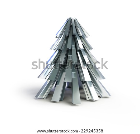 fir tree metal on a white background