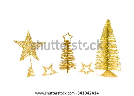 fir-tree with star isolated on white background. studio shot - stock photo