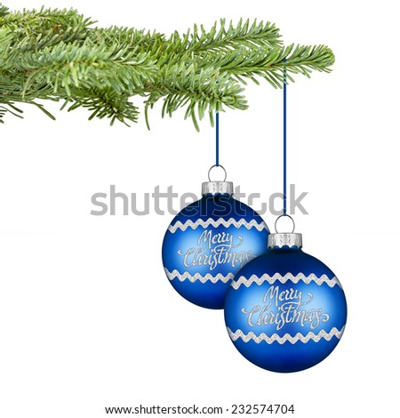 fir with a pair of blue silver christmas balls - stock photo