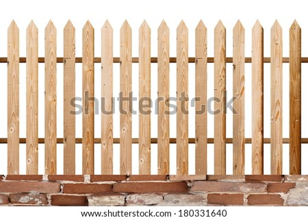 fir wood simple isolated fence made from planks, rural look - stock photo