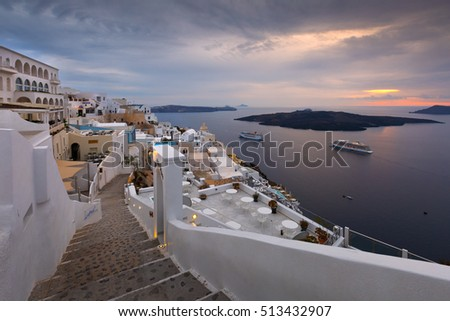 Fira, Greece - November 04, 2016: Town of Fira on Santorini island, Greece.