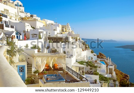 Fira panorama, Santorini, Greece - stock photo