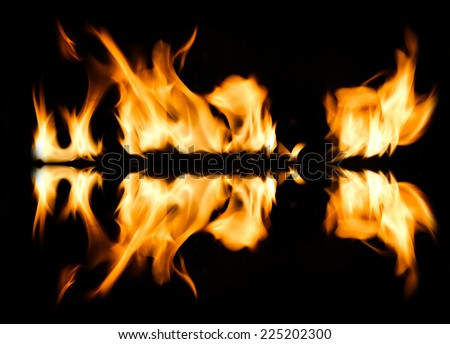 Fire abstract and flames shapes on a black background - stock photo