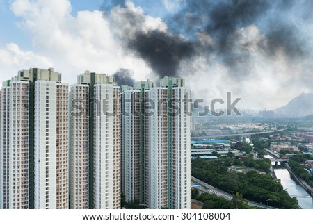 Fire accident in city - stock photo